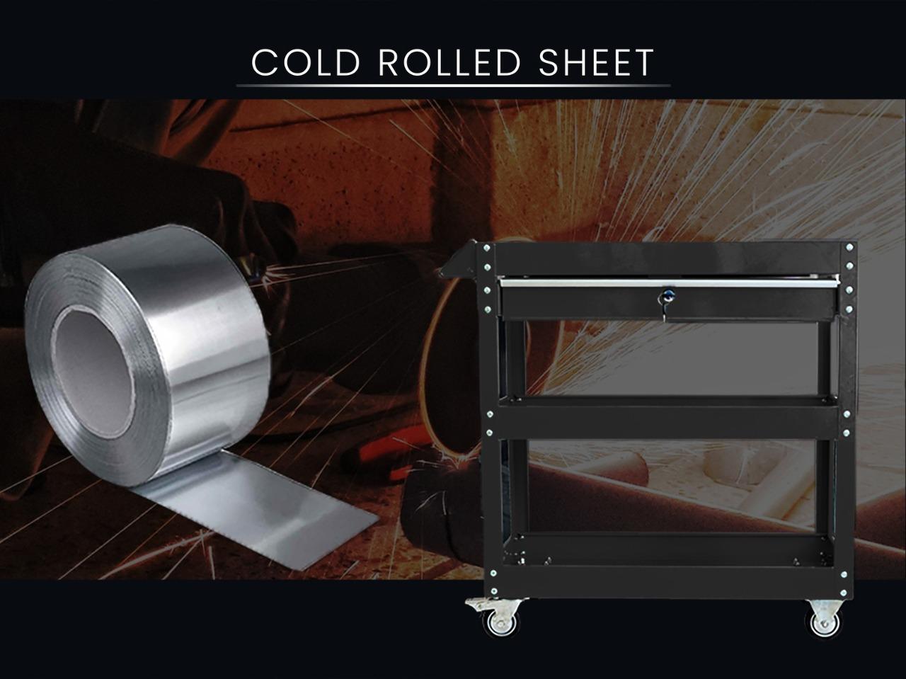 3-Tier Black Steel Tool Cart With Lock Drawer & Lockable Castors Mechanic Trolley