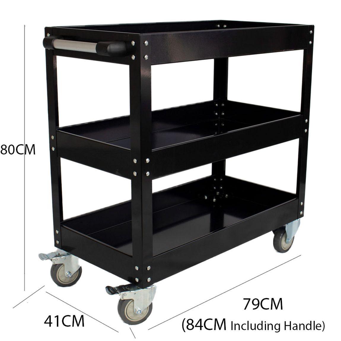 New ESSupplier Bigger & Wider Tool Trolley Cart Storage  Black
