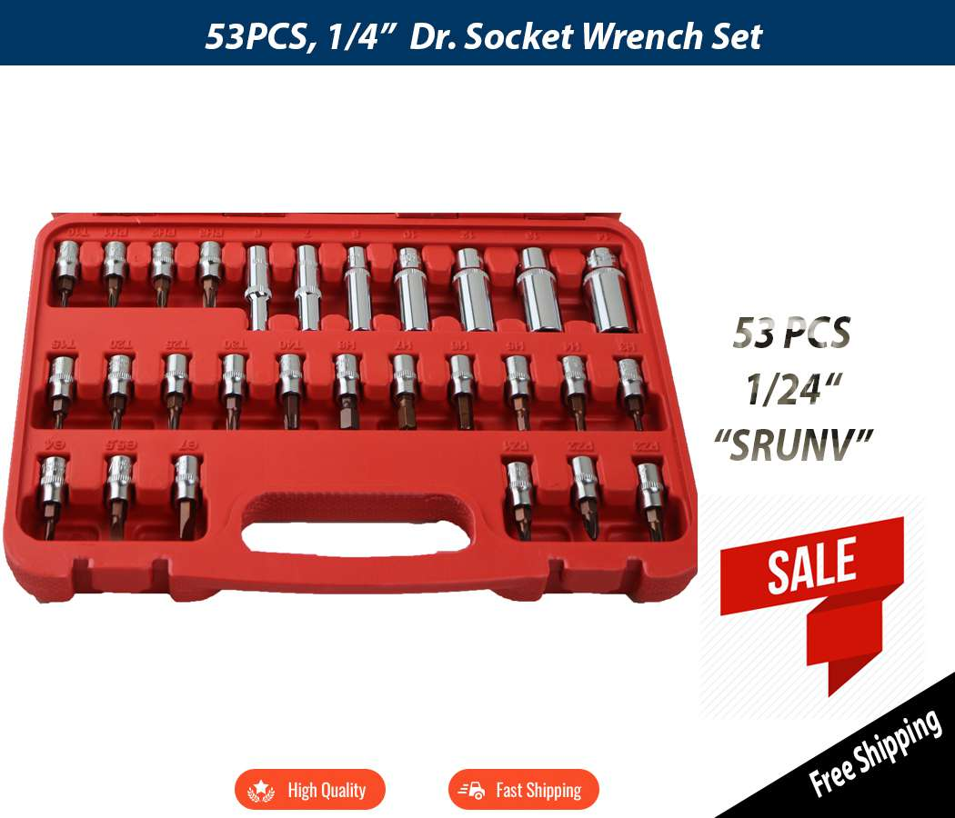 53pcs Socket Set 1/4 Handy Tool Ratchet Wrench Set