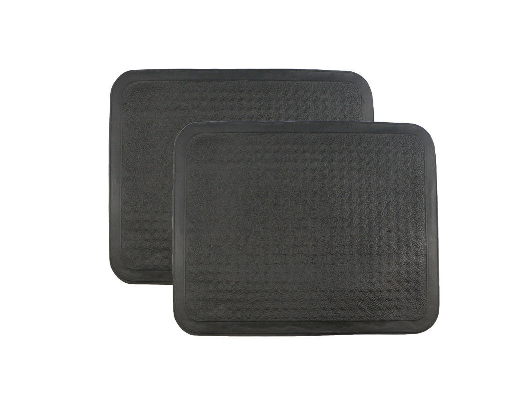 Universal Fit Black Rubber Reliant Front & Rear Car Mats