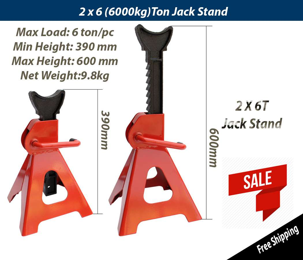 Pair 6T Heavy Duty Steel Auto Car Jack Stand With Adjustable Ratchet