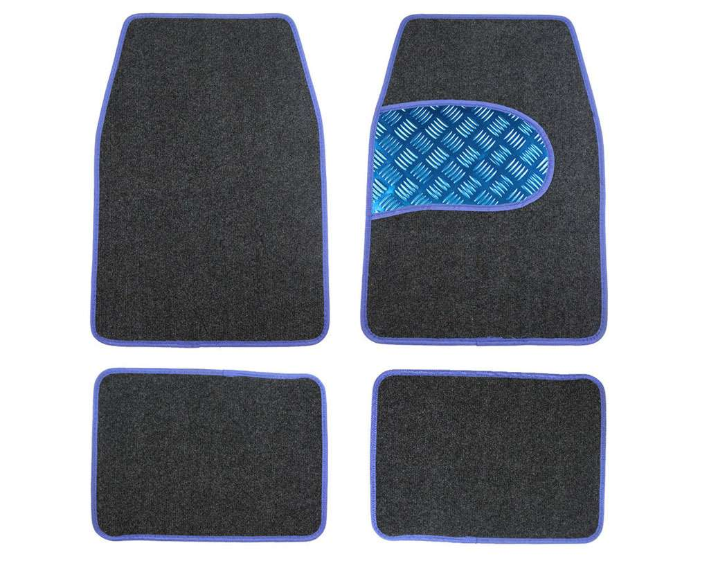 Universal Car Floor Mats - Carpet, Grey and Blue Set of 4