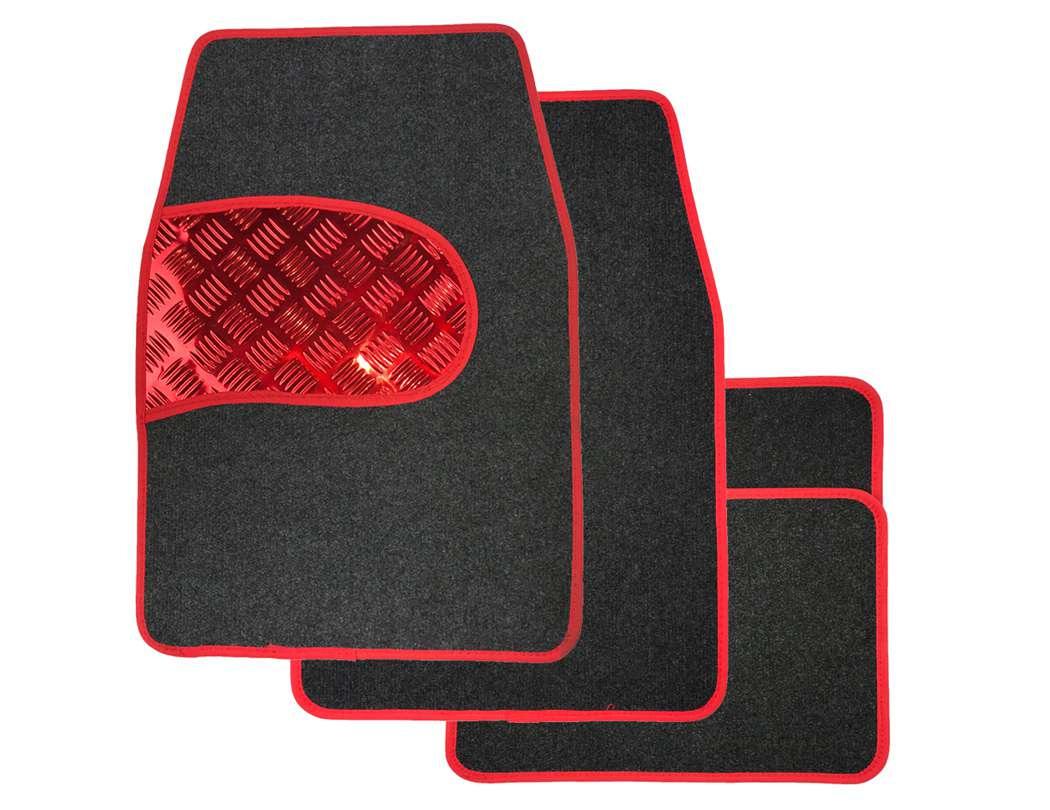 High Quality Universal Car Floor Mats - Carpet, Grey & Red, Set of 4