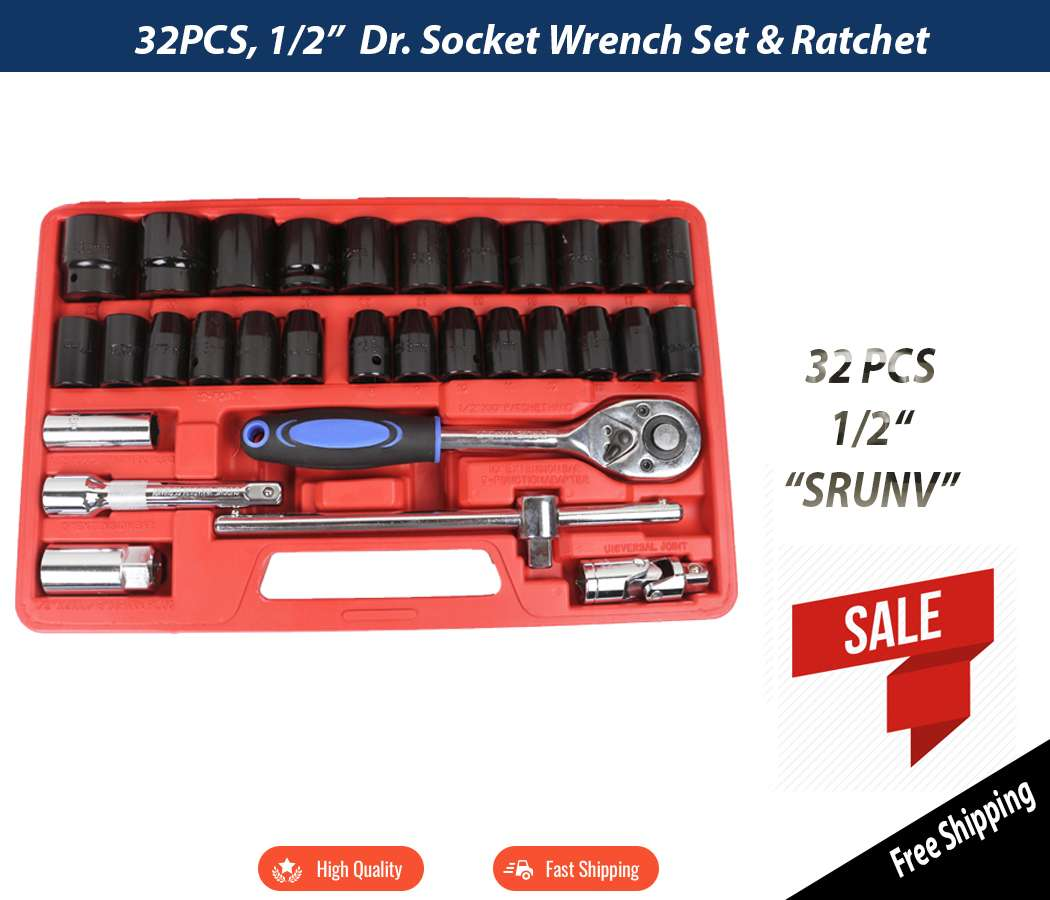 32PCS SRUNV Socket Set Wrench 1/2 inch Dr. Socket Set