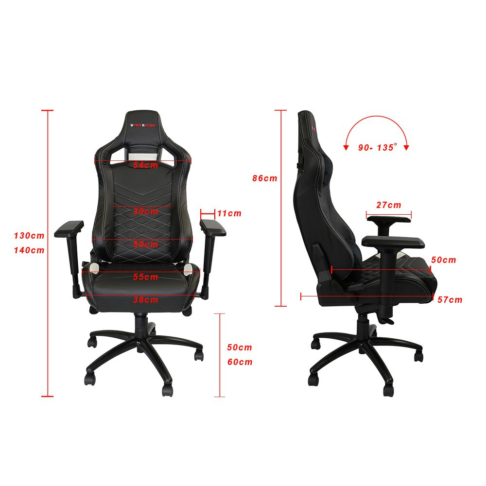 New Alpha-R1 - PU Leather Black & White Gaming Chair