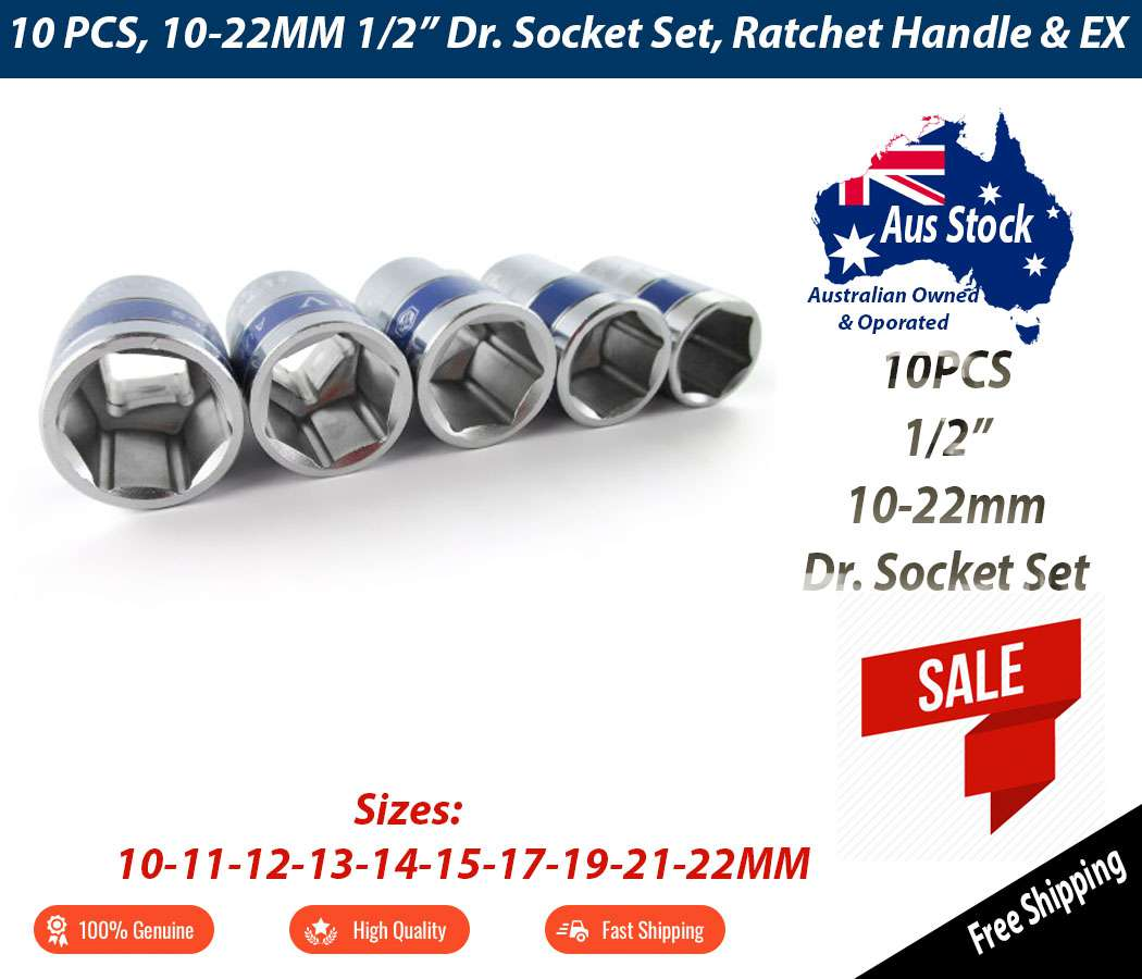12pcs 1/2-inch SRUNV Drive Quick Release Ratchet Socket Set, Extension Bar