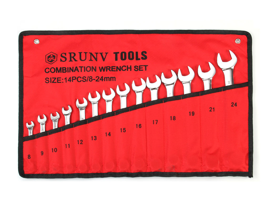 14pcs Combination Spanner Set Metric (8-24mm) Rolling Bag