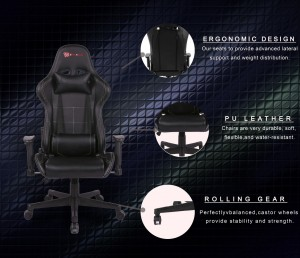 New EverRacer Gaming Office Chair PU Leather Black